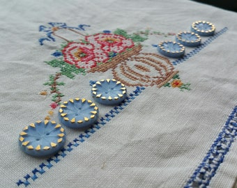 Vintage Blue and Gold Thread Through Glass Buttons.  Two Hole 1.7 cm Set of 6