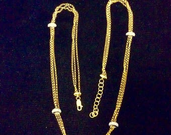 14K Yellow Gold and  Diamond Chain Necklace