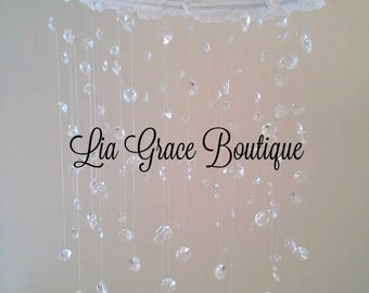 Crystal mobile made with chandelier crystals and lace for baby girl's room or nursery