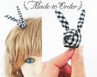 MADE-TO-ORDER ( 1 - 2 Weeks)- Bunny Hair Clip-Black Gingham Check