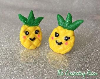 Pineapple Earrings Studs Cute Kawaii Earrings Polymer Clay