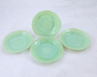 """Fireking Jadeite Alice Pattern 6"""" Plates, Set of 4"""