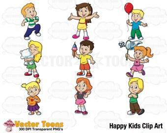 Happy Kids Clip Art, Digital Clipart, Digital Graphics