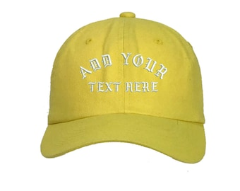 Custom Dad Hat Embroidered Dad Hat, YOUR TEXT HERE Kanye Custom Hat  Baseball Cap, Choose Your Text, Custom Stitching, Banana Yellow