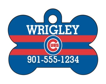 Chicago Cubs Pet Id Dog Tag Personalized w/ Your Pet's Name and Number
