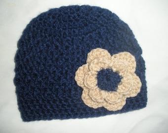 Baby girl beanie, baby gift for girls, baby shower gift, baby girl hat, crochet baby hat, baby girl gift, newborn photo prop, navy blue