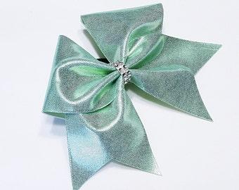 Light mint green cheer bow, Cheer bow, cheerleading bow, cheerleader bow, cheer bows, softball bow, large cheer bow, dance bow, big bow, bow
