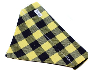 Bandana fits over the collar, Yellow and Black Flannel Plaid