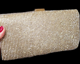 New Gold Classic Rhinestone Clutch Hand Bag- With Removable Gold Shoulder Chain Inside