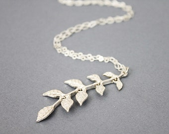 Silver Leaf Charm Long Necklace Delicate and Stylish Necklace  Modern and Simple Everyday Necklace Birthday Gift
