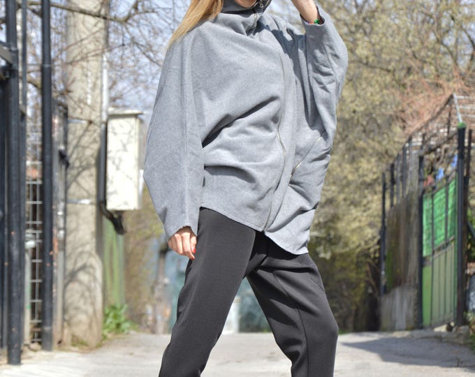 Women Cashmere Jacket, Asymmetric Grey Wool Sweatshirt, Women Zipper Top, Urban Warm Maxi Jacket by SSDfashion