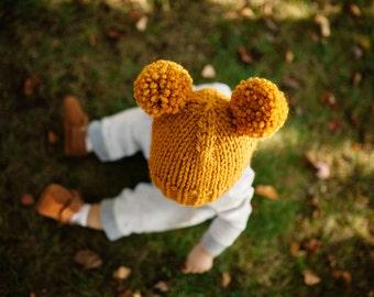 Double Pom Pom Hat // Newborn Pom Pom Hat // Knit Baby Hat // Newborn Photo Prop // Toddler Pom Pom Hat