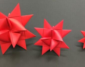 Large RED Moravian Paper Star ornament German Frobelsterne