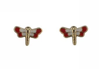 18K Yellow Gold Red Dragonflly Earring with covered Screwbacks (5mm X 7mm)