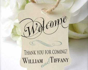 Wedding welcome tags, favor tags, destination wedding tags, hotel bag tags, bridal shower tags, party favor tags - 30 count( tg4 )