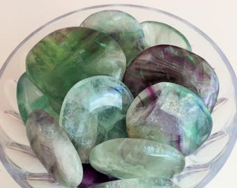 Surprise Box Crystals / Green, Rainbow Fluorite Healing Crystals