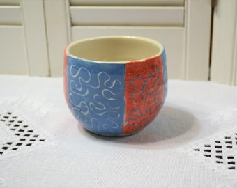 Vintage Handmade Pottery Bowl Red Blue Glaze Squiggly Line Design Signed Art Pottery Trinket Candy Dish PanchosPorch