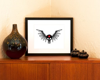 Love is a Battlefield 8 in x 10 in Art Print - Winged Skull Badass Wall Decor (Free Shipping in US)
