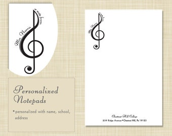 Music Teacher Notepad - Treble Clef with Name - teacher gift