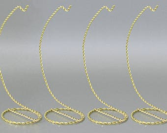 "Brass Twist Ornament Stand Twisted Brass- 7""H - Set of 4   #1337-7"