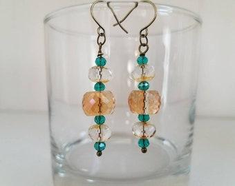 Peachy Green Earrings, Peach and Green Glass Crystal Earrings, Amber Glass Earrings, Amber and Green Crystal Earrings, Brass Earrings