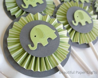 Green and Gray Baby Elephant Cupcake Toppers- Elephant Baby Shower Decorations..Set of 12