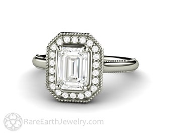 Emerald Cut Moissanite Halo Engagement Ring Antique Style with Filigree and Milgrain Forever One Moissanite Ring
