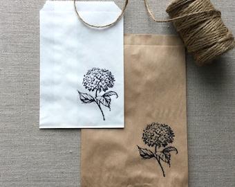 20 White or Kraft Hydrangea Favor Bags, Hydrangea paper bags, Flower paper bags, wedding favor bags, floral gift bags