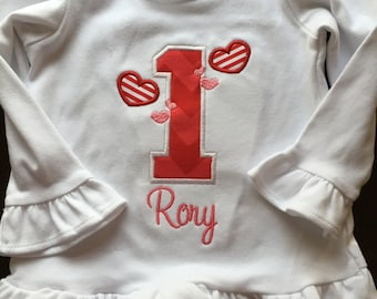 First Birthday Hearts Embroidered - Sample Sale