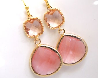 Peach Earrings, Coral Earrings, Glass Earrings, Champagne, Gold, Wedding Jewelry, Bridesmaid Gifts, Bridesmaid Earrings, Bridal Jewelry