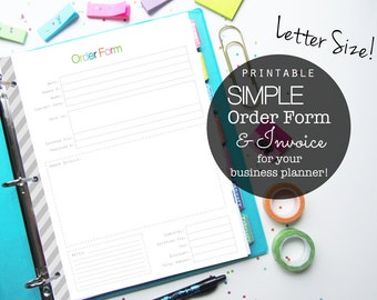 Etsy and Small Business Order Form PDF Printable Planner Pages, Inserts - Letter Size