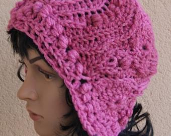 fantastic textured freeform crochet hat , deep cap, asymmetric , fantasy autumn hat,freeform crochet hat with ears, pilot