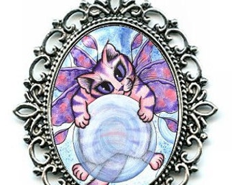 Bubble Fairy Kitten Necklace Pink Fairy Cat Cameo Pendant Big Eye Cute Kitten 40x30mm Gift for Cat Lovers Jewelry