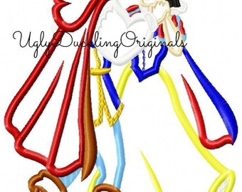 Snow White Prince Dancing Machine Embroidery Applique Design Digital Download