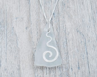 White Maine Sea Glass Necklace with Silver Wavy Spiral