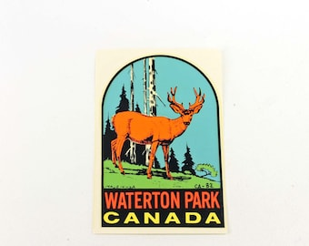 Waterton Park Canada Travel Decal Vintage Luggage Decal