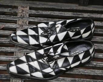 Size 9 Vintage Tullio Italian Made AWESOME funky 1950s Inspired Men's Shoes 43 Italian Show Stopper Checkered Black and White Retro Funky