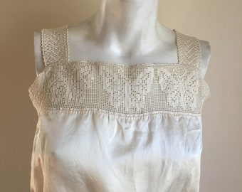 Vintage Victorian Off White Silk Cropped Camisole with Butterfly Detail // Bust 34