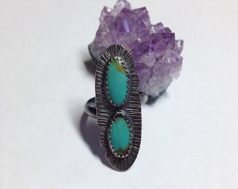Turquoise Ring Gunmetal Sterling Adjustable Tribal Native American Style Double Bezel