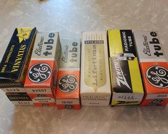 Lot of 8 New Old Stock! Medium Sized Vintage Vacuum Tubes Sylvania, GE, Zenith, Realistic 1930s-1970s