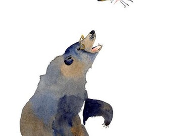 Print Bear and Butterfly Giclee Art illustration 11.7x16.5 print