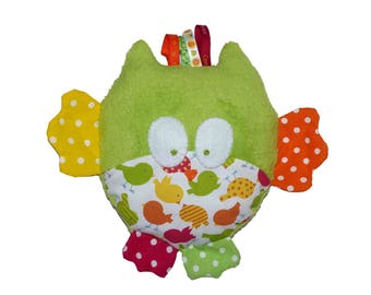 OWL or mini blanket pillow plush green birds