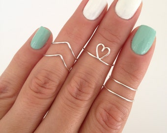 5 Midi Rings (Chevron, Dainty Heart, Simple Midi Bands) in Silver, Gold, Copper, Pink Rose, or Aqua. Wear these in many combinations!