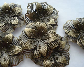 55mm Antique Bronze Filigree Flower Embellishments, Pack of 5 Embellishments that can Hold SS10 Rhinestones, C415
