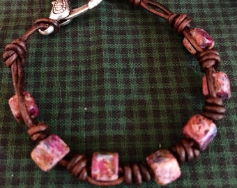 Square purple bead bracelet