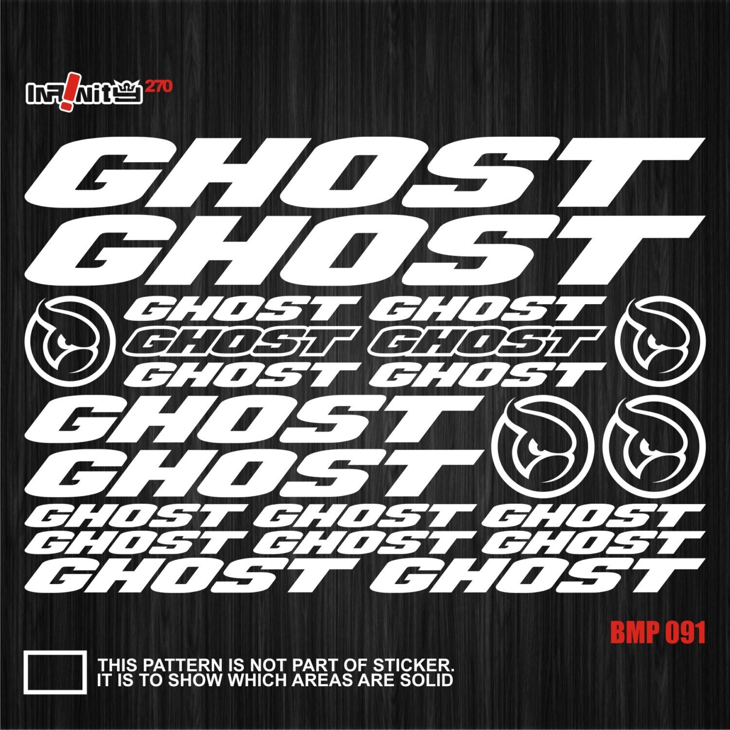 wBMP091 Ghost Bike Frame Aufkleber Decal Set Mountain Kurbel