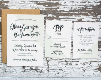 Mint Color Block Wedding Invitation