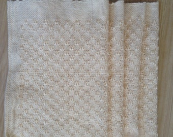 Placemat Set (4)  Huck Lace  Floor Loom Woven  Pearl Cotton