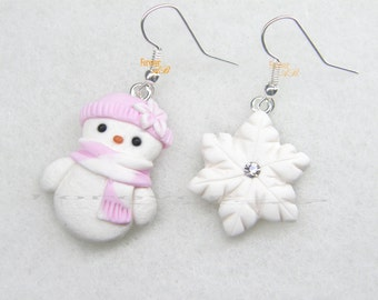 Snowman Earring Christmas gift red Snowflake earrings
