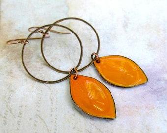 Big orange earrings Copper earrings Hoop with drop earrings Enamel jewelry minimalist